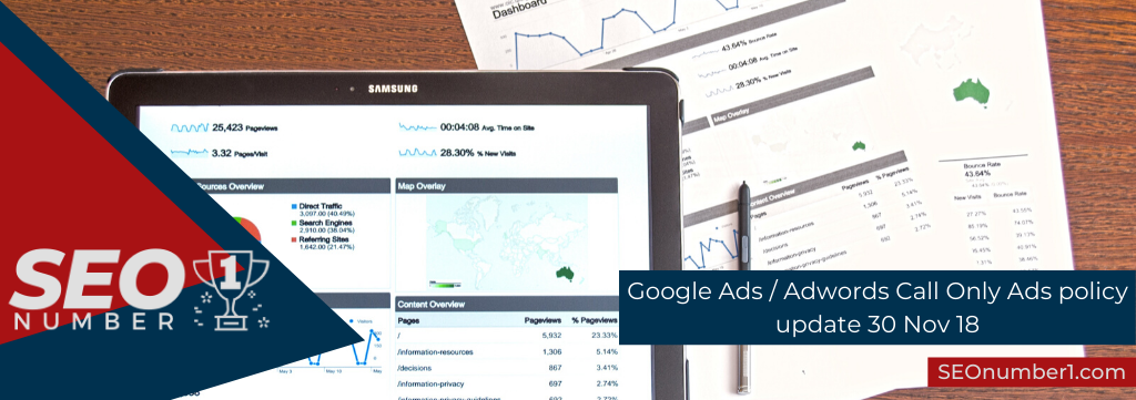 Google Ads / Adwords Call Only Ads policy update 30 Nov 18